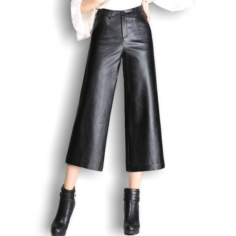 Women faux PU leather loose   pants   casual   capris   solid trousers wide leg fashion   pants   plus size 4xl