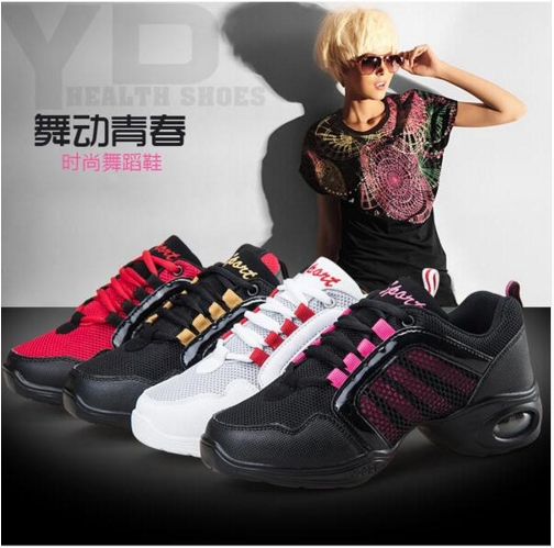 New 2017 Arrival Pink Gold Black White Women Girls Jazz Shoes Wedges Sneakers For Dance