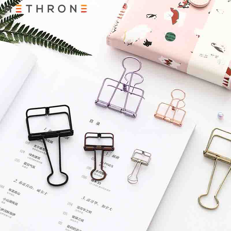 Hethrone Kawaii Colorful Multifunction Metal Paper Clips Binder Clip For Photo Message Ticket File Bookmark Office Memo Clip