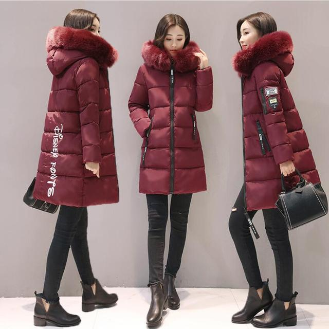2018 women hooded warm coat winter jackets Big fur collar hats long parka cotton padded jacket female womens wadded plus size 3