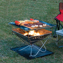 Outdoor thickened 304 stainless steel grill camping non-smoking  folding portable wood burning stove