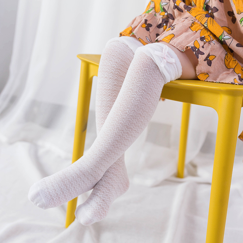 Baby Girls Bow Lace Summer New Thin Mesh Childrens Socks Breathable Cotton Baby Socks Girls Knee Baby Socks