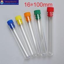 50pcs / lot 16 * 100mm plastična epruveta s čepom iz trde plastične cevi stiroporna epruveta Visoka preglednost Barva lahko izbere