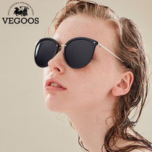 VEGOOS New Polarized Women Round Cat Eye Style Sunglasses Brand Designer Fashion Retro Polaroid Sun Glasses  #9095