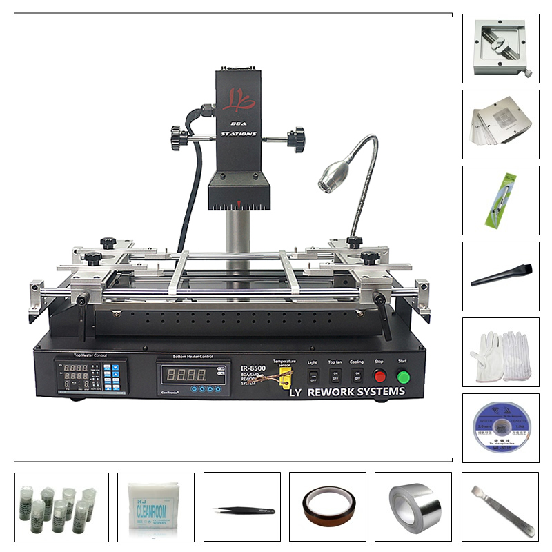 LY IR8500 Infrared BGA Rework Soldering Station with BGA Reballing Kit 184pcs 80mm / 90mm Stencil Jigs Holder