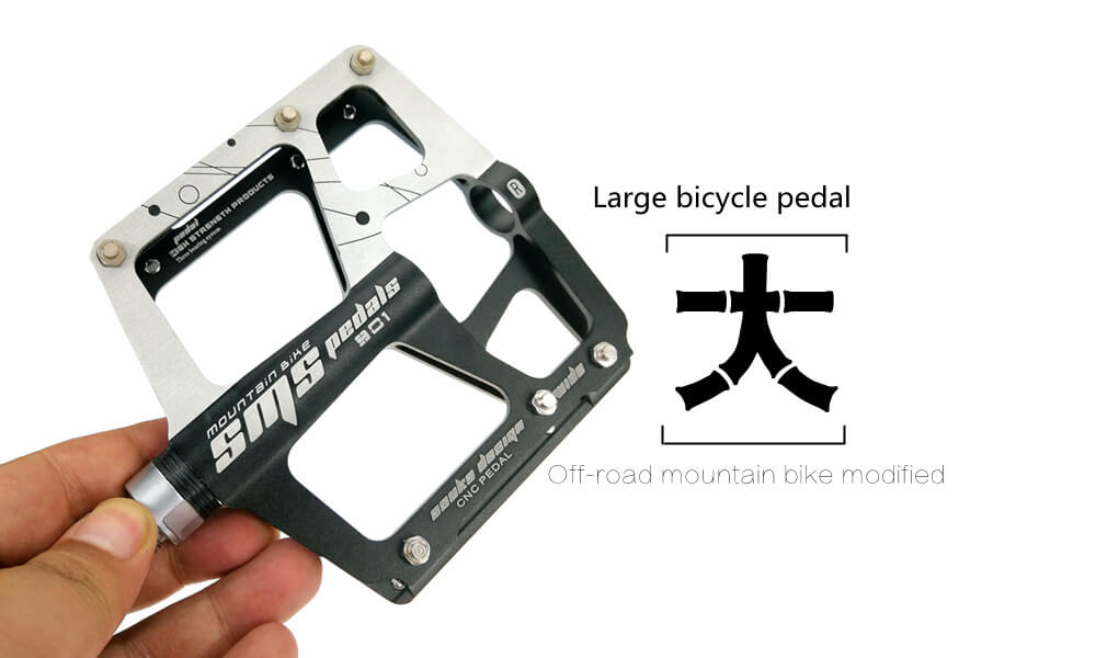 SMS Aluminum Bicycle Pedals High Strength Moutain Bike Antislip Steel Axis Pedal