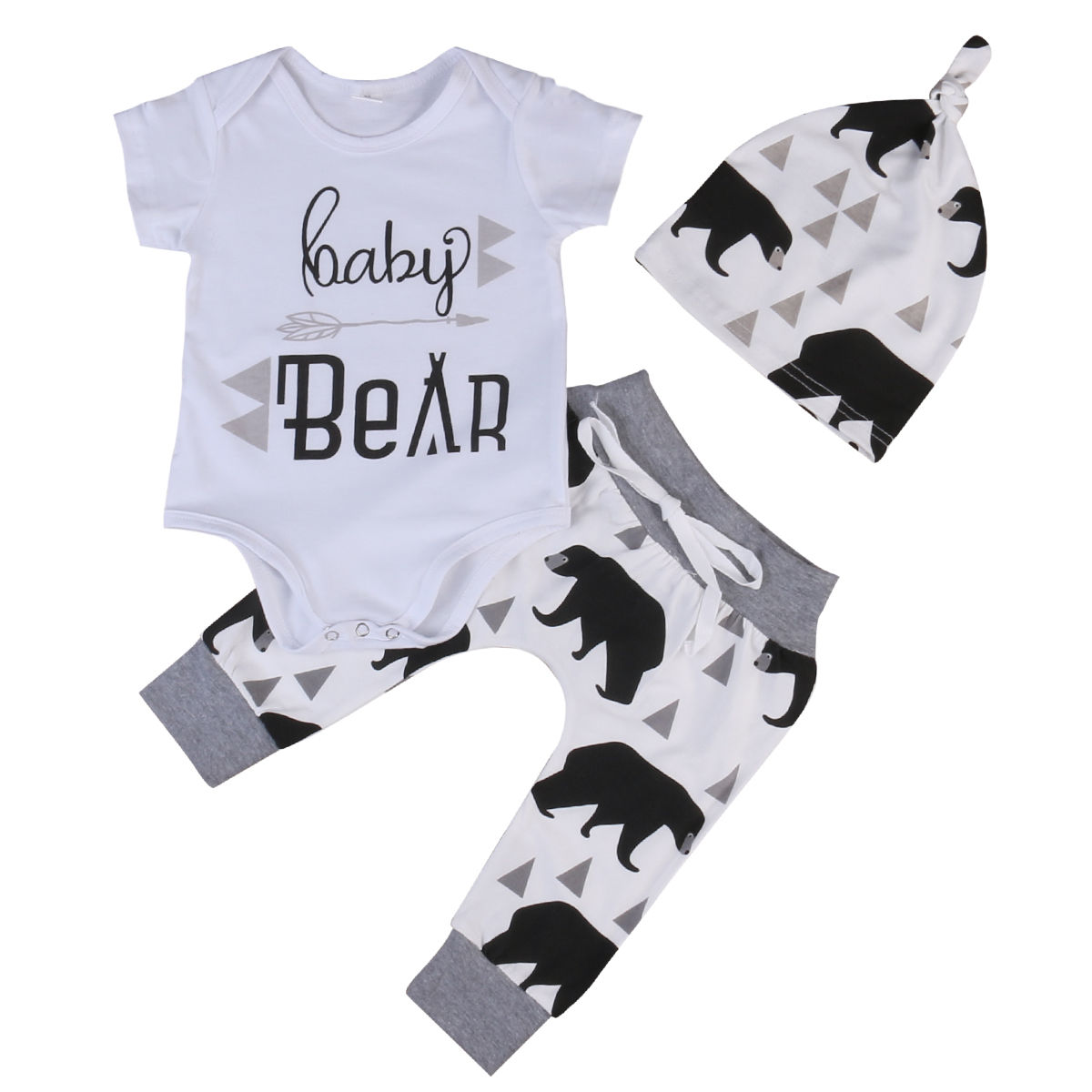 Newborn Baby Boys Girls Clothes Summer Kids girl Clothing Romper Short sleeve T-shirt Tops Long Pants Outfits Sets