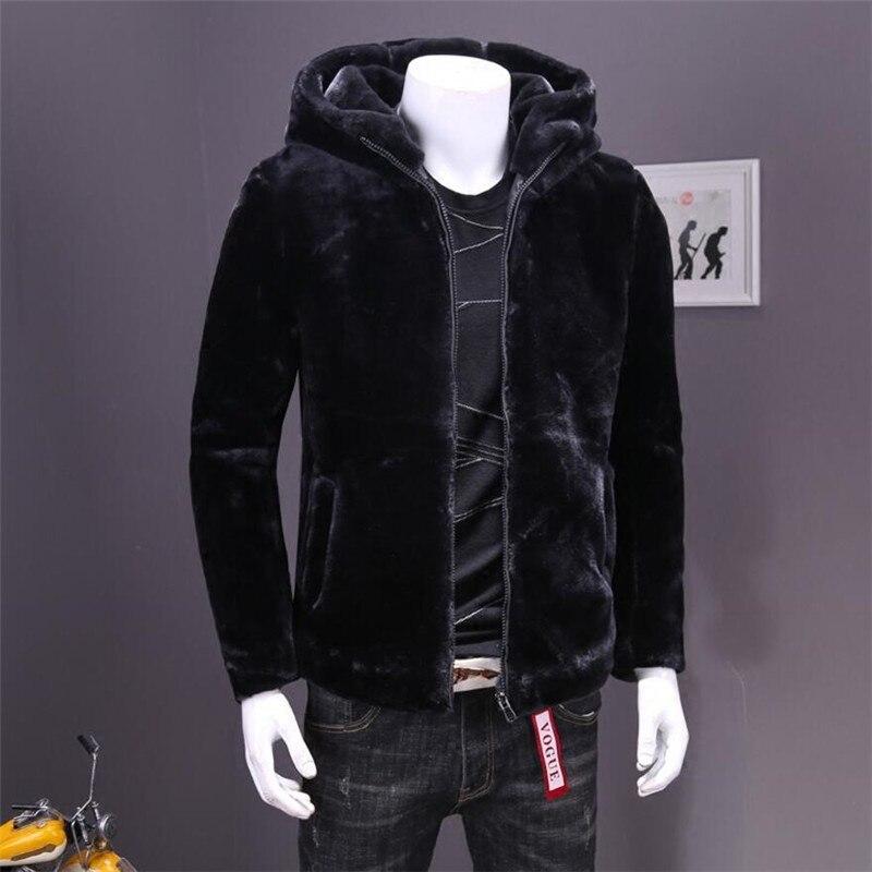 L-4XL Faux Mink Coats Men Warm Hooded Coat Male Winter Casual Slim Thickening Zipper Black Color Outerwear A4105