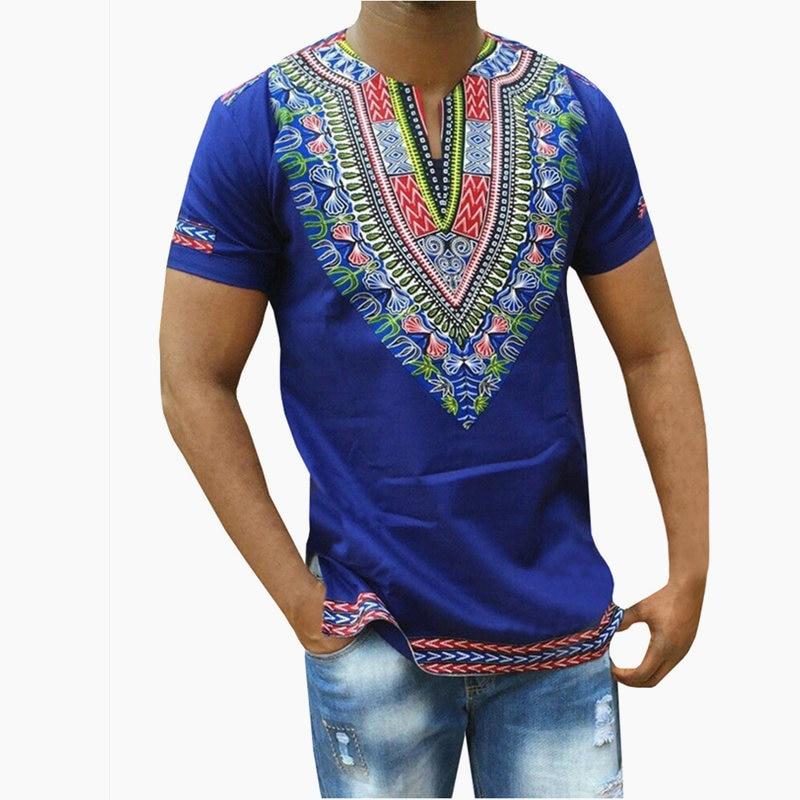 Male Dashiki Vintage T Shirts 2017 Bohemia Retro Tops Men