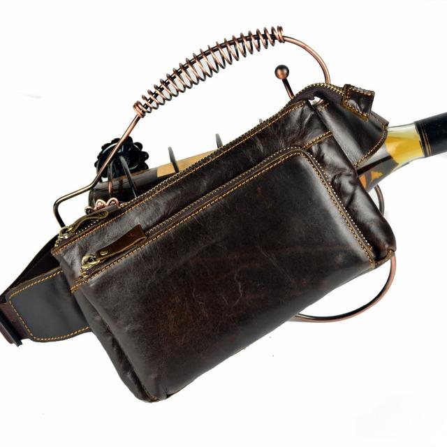 De alta calidad de cuero genuino pequeños paquetes de la cintura del paquete de fanny para los hombres del zurriago paquete pecho bolso del teléfono carpeta dominante de los hombres de hombro bolsa