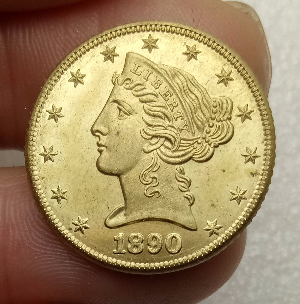 United States of America 5 Dollars Liberty / Coronet Head - Half Eagle With motto 1890 Brass Copy Coin