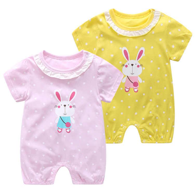2019 летний детский комбинезон с короткими рукавами для девочек, Детский комбинезон из хлопка с милым рисунком, одежда для маленьких девочек, одежда для новорожденных