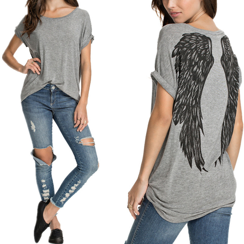 Plus Size New Fashion 2018 Summer T Shirts Angel Wings Printed Tees Womens Short Sleeve Basic Tops Casual Loose T-shirts Blusas