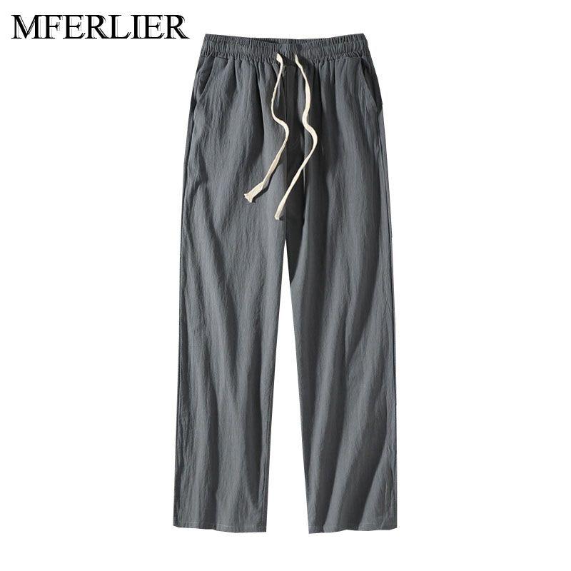 Autumn Summer Plus Size Pants Men 5XL 6XL 7XL 8XL Waist 140cm Cotton Linen Large Size Trousers Men 5 Colors