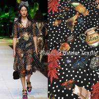 DG Lobster Polka Dot Printed Chiffon Fabric For DIY Handmade Dress Shirt Elegant Cloth