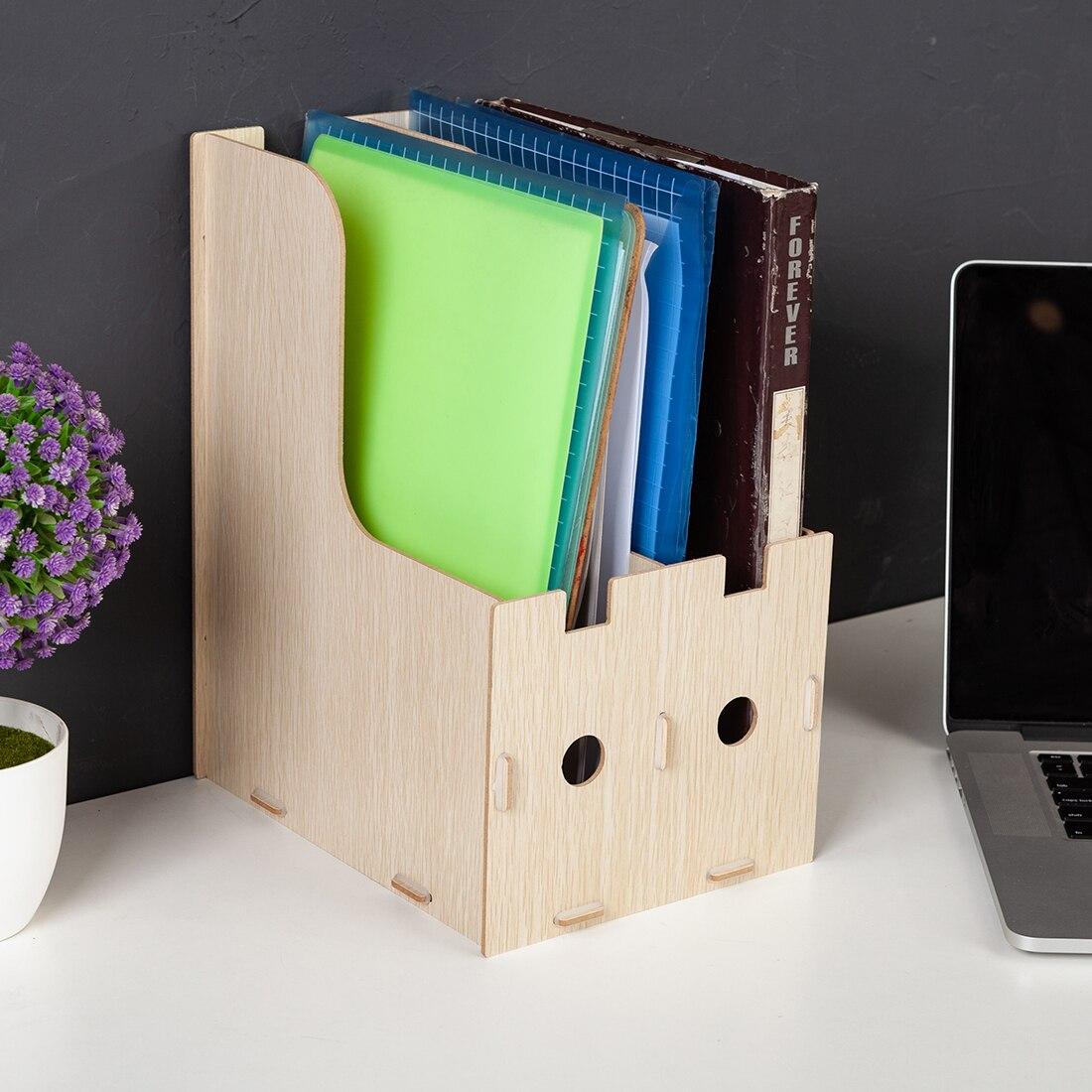 File Storage Box Office Study Desktop Organizer Shelf for Books Documents Black Oak Color Home Storage Organization