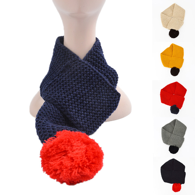 US $2 86 15% OFF|2019 Fashion Scarf Children Wide Knitted Kids Neck Collar  Solid Crochet Winter Warn Neck Scarves Winter Wrap Scarf-in Scarves from