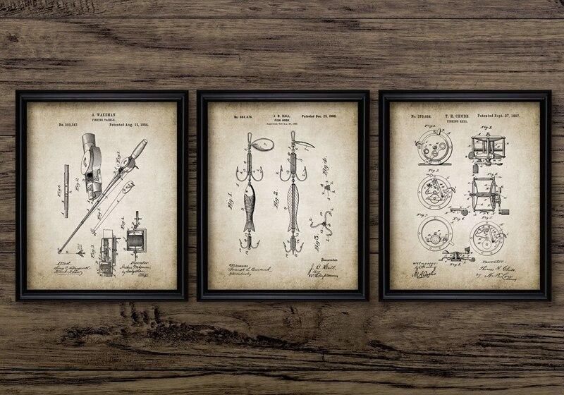 Vintage Fishing Patent Canvas Art Prints Home Decor