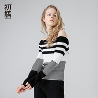 Toyouth Women Autumn New Arrival Sweater Fashion Stripe Print Slash Neck Long Sleeve Slim Female Sweater