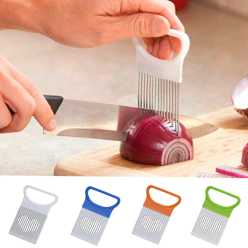 1PC Kitchen Onion Tomato Vegetable Slicer Cutting Aid Guide Holder Fruit Slicing Cutter Gadget Tools Wholesale noFB19