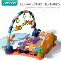 Educational Activity Play Mat Baby Gym Fitness Frame Toys Game Multifunction Soft Piano Music Bed Bell Crawl Blanket Carpet