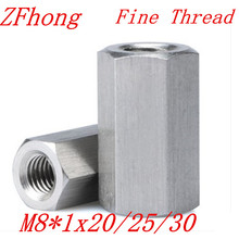 5pcs M8*1x20/25/30  m8x1.0 Fine Thread Hex Rod Coupling Nut 304 Stainless Steel
