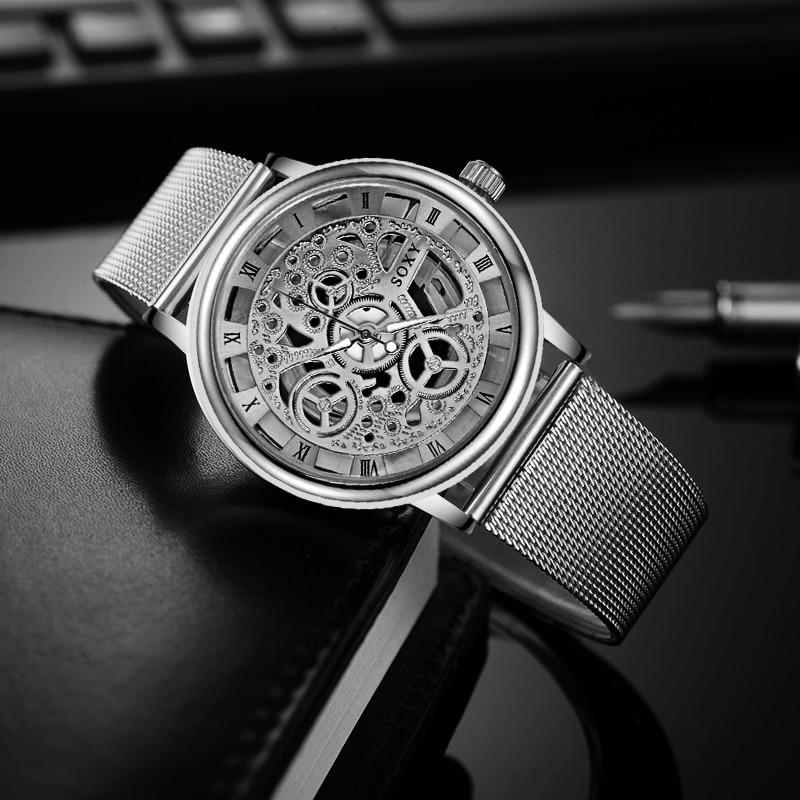 2019 Fashion Watch Silver & Golden Luxury Hollow Steel Watches Men Women Unisex Hombre Quartz Wrist Watch Clock Retro Relogio