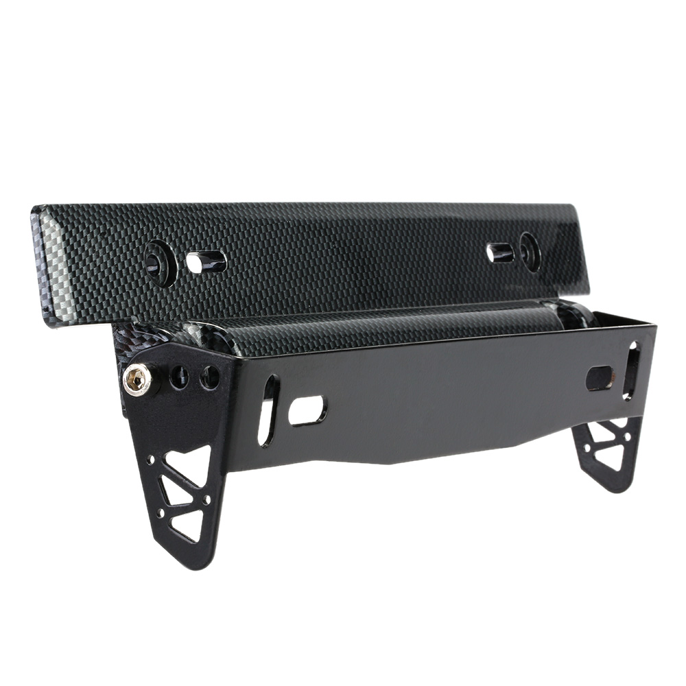 universal carbon fiber look car license plate frame holder racing style angle adjustable relocate mount bracket