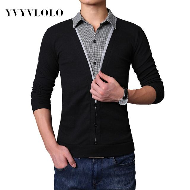 2016 New Autumn Fashion Fake Two shirt collar Long sleeves T-shirt Casual Slim Men t shirt  Button Decorating Tees / Tops