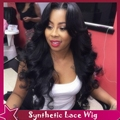 New Design Sexy Body Wave Synthetic Lace Front Wig Free&Middle Part Hairstyle No Lace Natural Cheap Wavy Wigs For Black Women