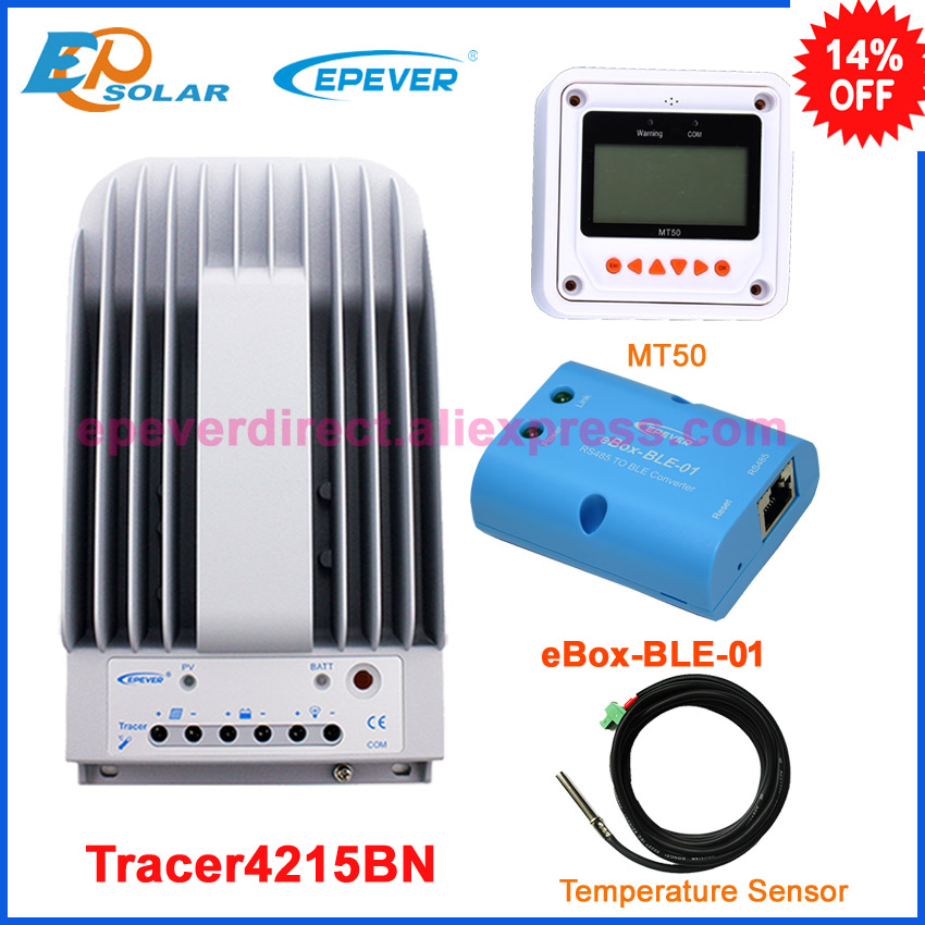 bluetooth function BLE BOX temperature sensor MPPT solar regulator Tracer4215BN 40A 40amp +MT50 remote meter mppt 20a solar regulator tracer2210a with mt50 remote meter and temperature sensor