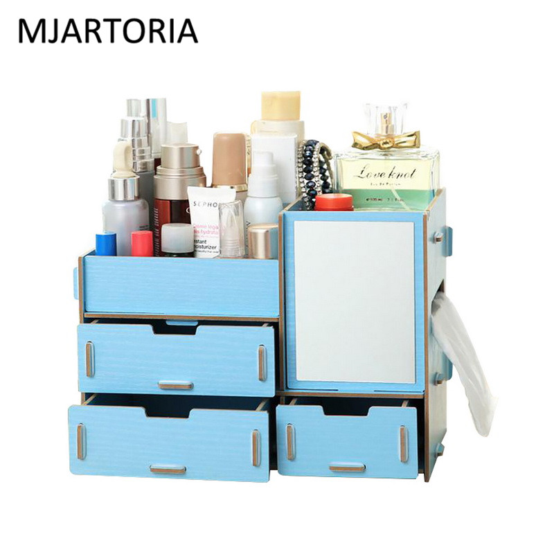 MJARTORIA 1PC Wooden Jewelry Storage Box Jewelry Container Makeup Organizer Case Handmade DIY Assembly Cosmetic Organizer v cut wooden makeup organizer