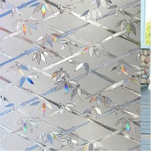 60*200 Cm Laser Glass Bamboo Leaf Film,No-Glue 3D Static Decorative Window Sticker Decals