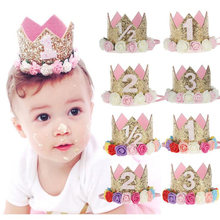 2019 Flower Crown Newborn Headband Gold Birthday Crown Flower Tiara Headband for Kids Party Headwear Hair Bands Accessories Gift(China)