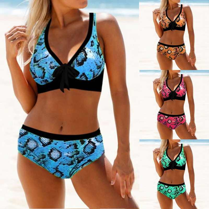 Sexy Bikini Set Women Leopard 2019 Tankini Plus Size Thong Biquini High Waist Swimsuit Mujer Tie Knot Bikinis Women Swimwear