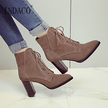 Women Autumn Winter Boots Black Brown Ankle for High Heel 8cm