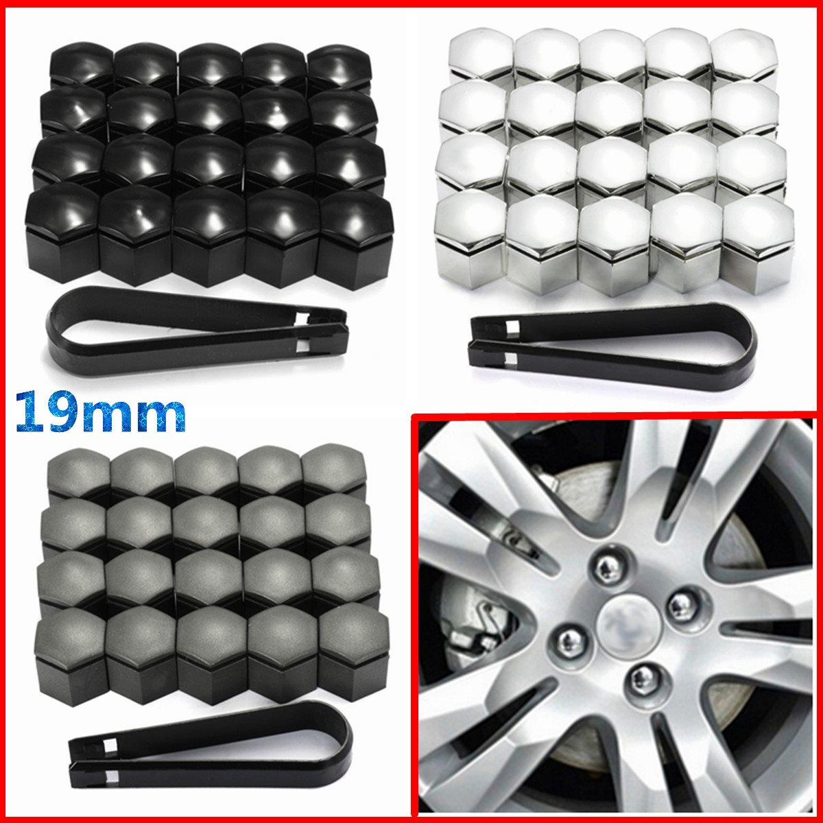 20pcs 19mm Wheel Nut Cover Bolt Cap Protector For Vauxhall Opel Romove Tool Key