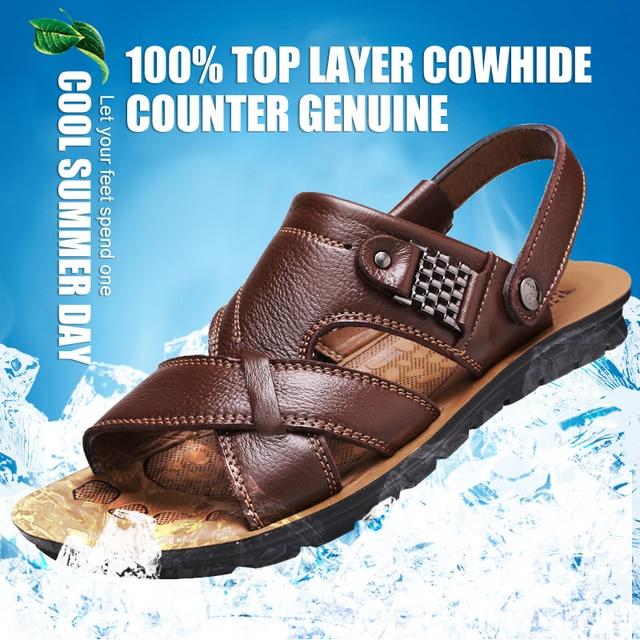 Grande tamanho 48 homens sandálias de couro verão clássico homens sapatos chinelos sandálias macias roman confortável sapatos de caminhada ao ar livre 2