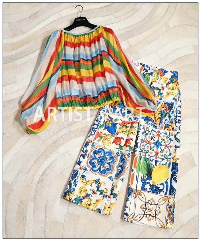 Moda Llegada Pantalones Cintura De 2018 Mujeres Las Pic Alta Marca Paneled Anchos Pierna Tobillo Nueva As Impresas Vendimia La Longitud Lujo IO1vw4x