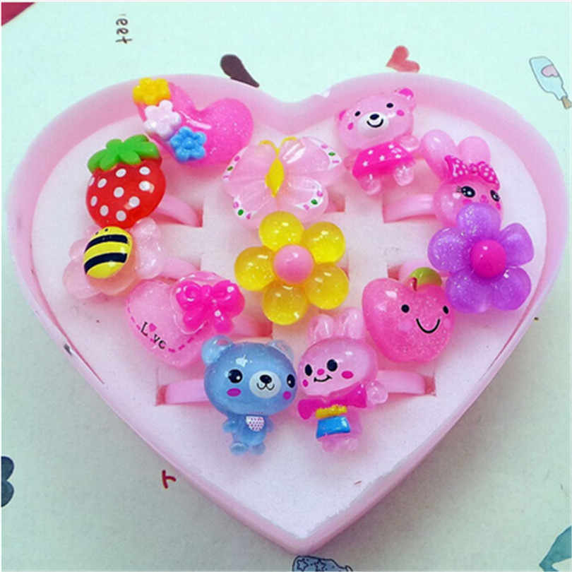 12pcs Children's Cartoon Rings Candy Flower Animal Bow Shape Ring Set Mix Finger Jewellery Rings with Heart Box Kid Girls Toys