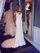 Vestido De Novia Sirena Elegant Boat Neck Lace Off Shoulder Court Train Mermaid bridal gown 2018 mother of the bride dresses
