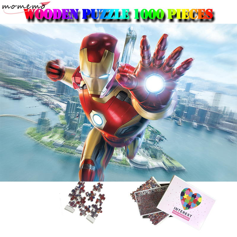 MOMEMO Iron Man 1000 Pcs Wooden Puzzle Movies Jigsaw Puzzle 1000 Pieces Adults Wooden Puzzles Nice Gifts Puzzle Toys Home Decor