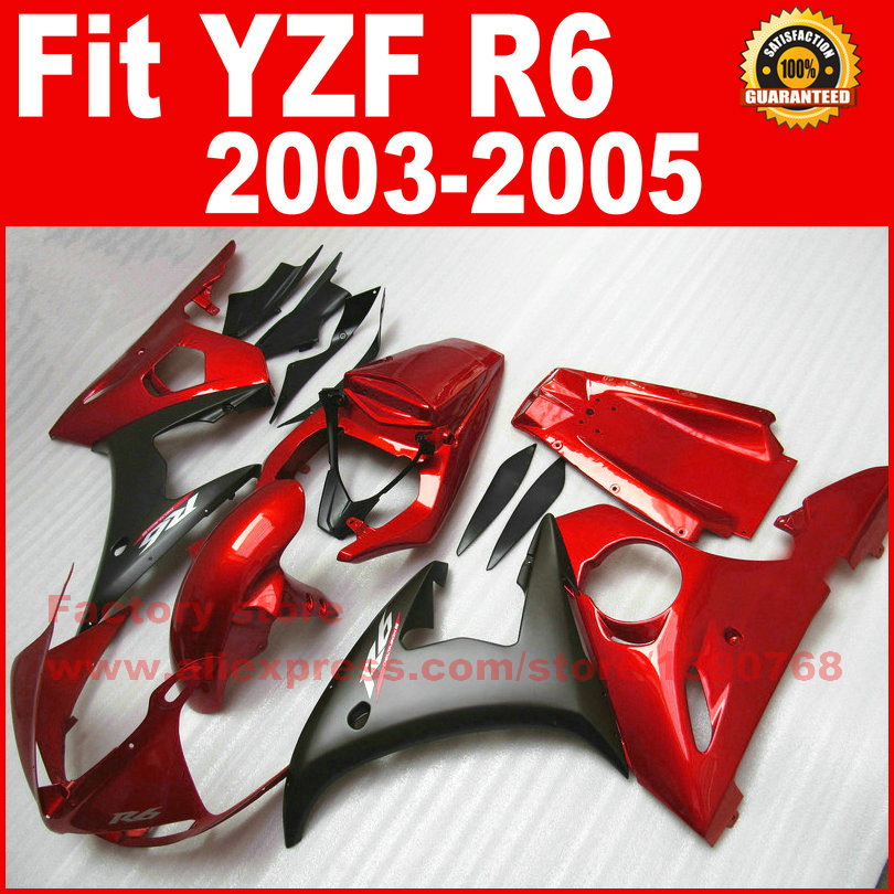 Customize motorcycle ABS fairings set for 2003 2004 2005 YAMAHA YZFR6 red black YZF R6 03 04 05 fairing kits body repair parts road race motorcycle fairings kit for yamaha r6 2003 2004 2005 yzf r6 03 04 05 black silver fairing kits bodywork part