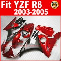Customize motorcycle ABS fairings set for 2003 2004 2005 YAMAHA YZFR6 red black YZF R6 03 04 05 fairing kits body repair parts