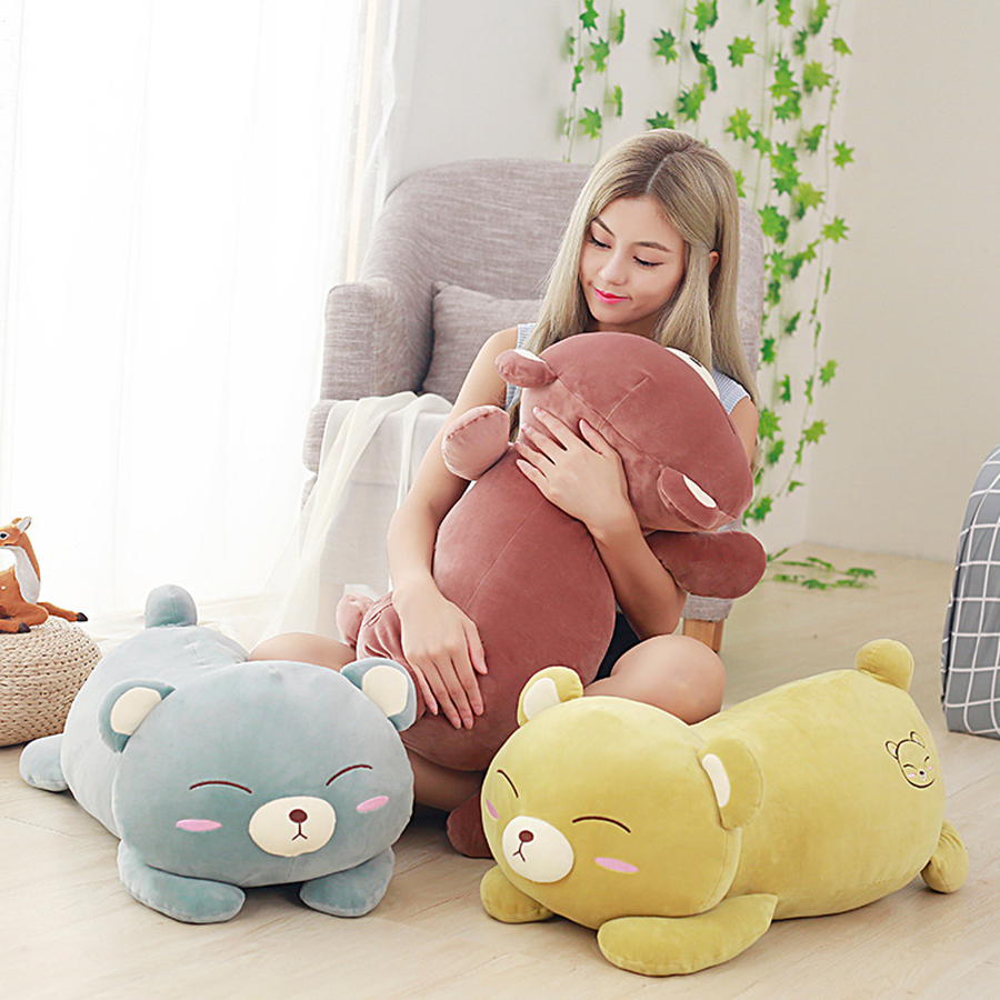 Cute Plush Sleeping Bear Pillow 50Cm Cushion Soft Toys Stuffed Aniamals Dolls Almofadas New Year Girlfriend Gift Cojines 50T0204 23cm cute plush grey elephant toys dolls baby sleeping back pillow cushion soft stuffed elephant plush toys kids gift