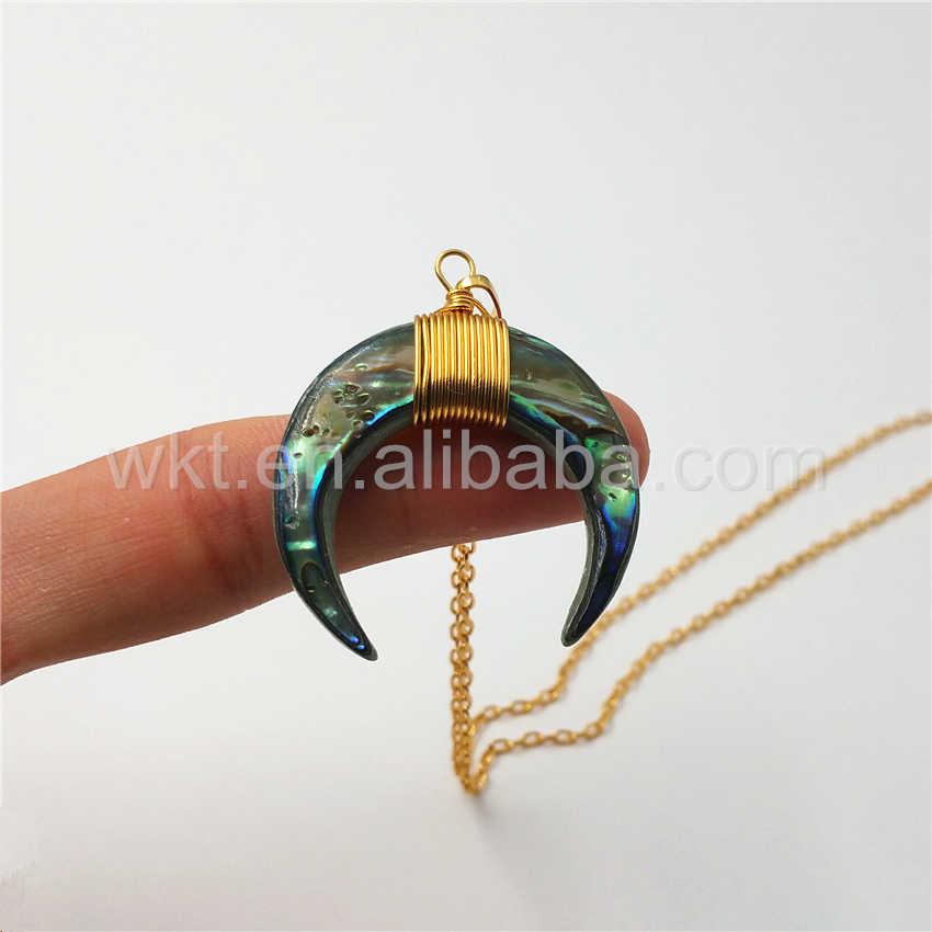 """WT-N810 Charme Big Size embrulho Fio shell Paua Abalone Shell Colar Da Forma Crescente pingente colar 18 """"colar de corrente de ouro"""