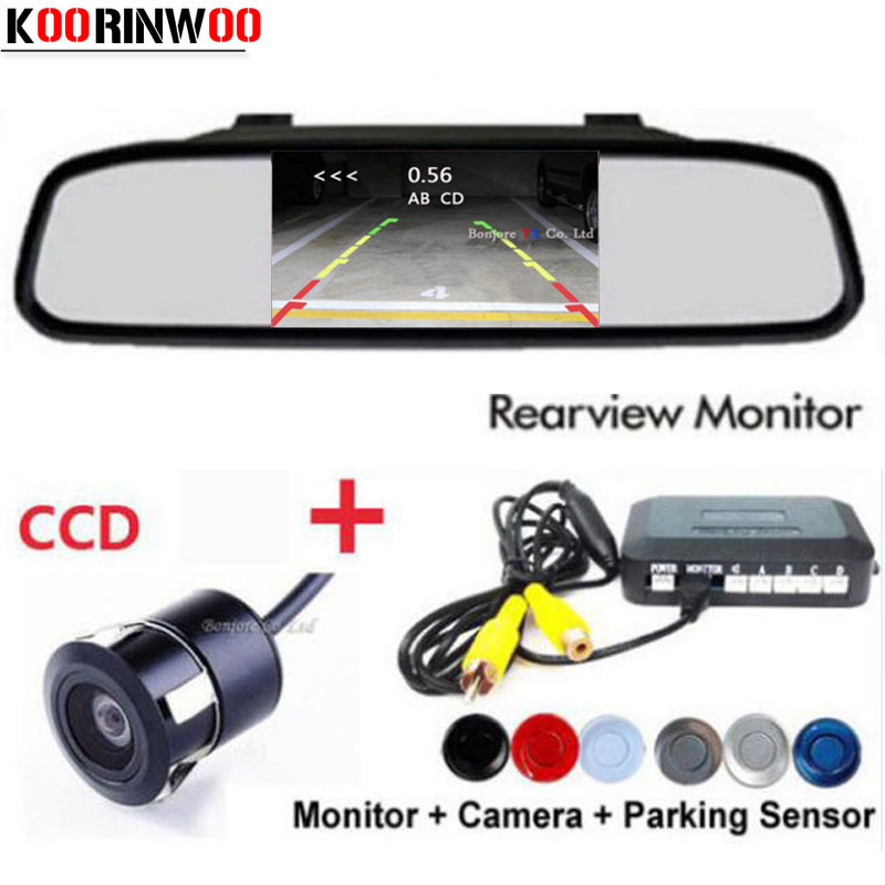 Koorinwoo 3in1 Dual Core CPU 4 Parking Sensors Car Waterproof Reverse Rear View camera Assist Backup