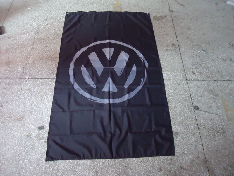 free shipping 100% polyster VW black car flag ,90X150CM size,out door use,VW black banner
