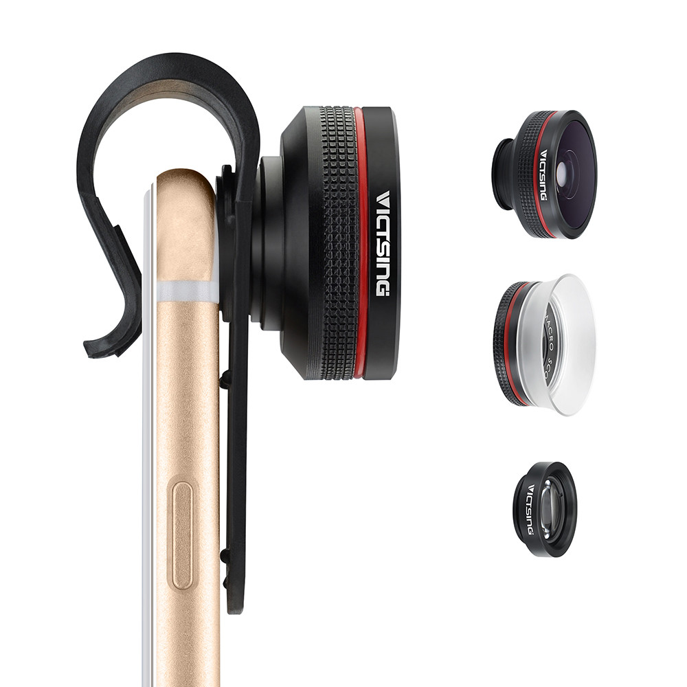 VICTSING Clip-on 3 in 1 Camera Phone Lens Kit Fisheye Lens + 12X Macro + 24X Super Macro Lens for iPhone 6s 6 Plus etc Cellphone 12