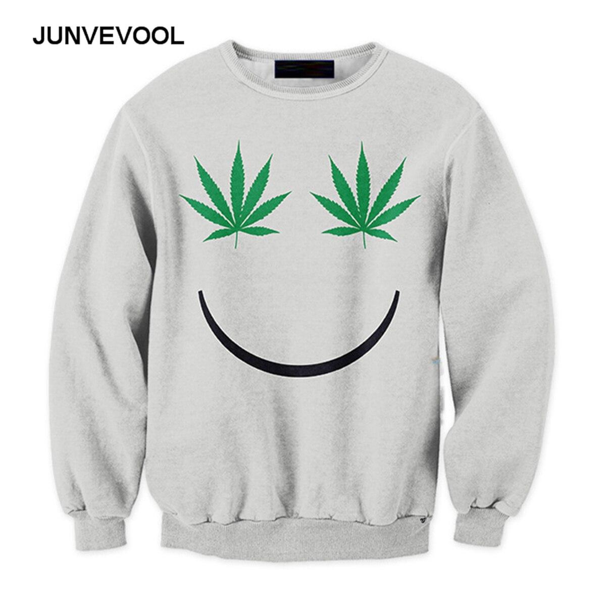 Smile Face Hoodies Men 3D Weed Leaves Sweatshirt Printed ...